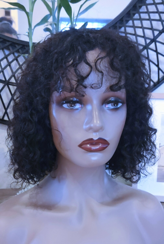 Black Curly Human Hair Bob with Fringe