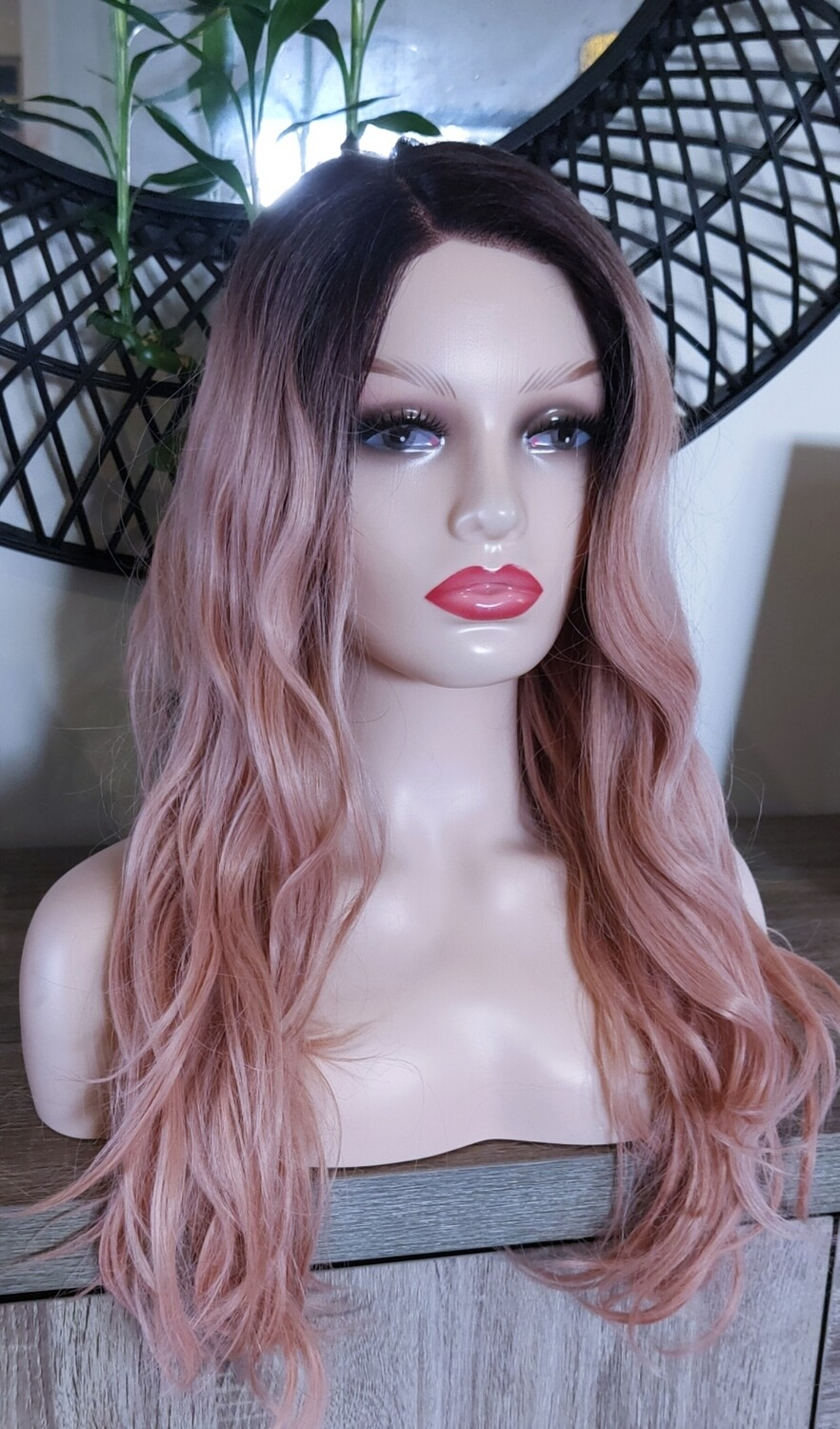 Peachy Pink Ombre Wavy Lace Front