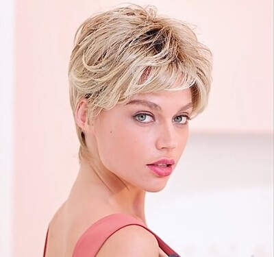 Light Blonde Ombre Human Hair Blend Pixie Cut
