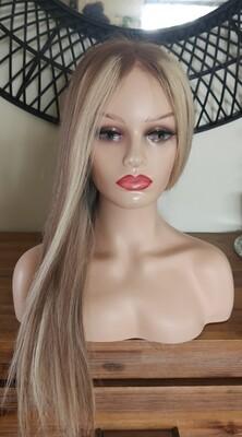"Platinum Blonde Mix Light Brown Human Hair with 22"""