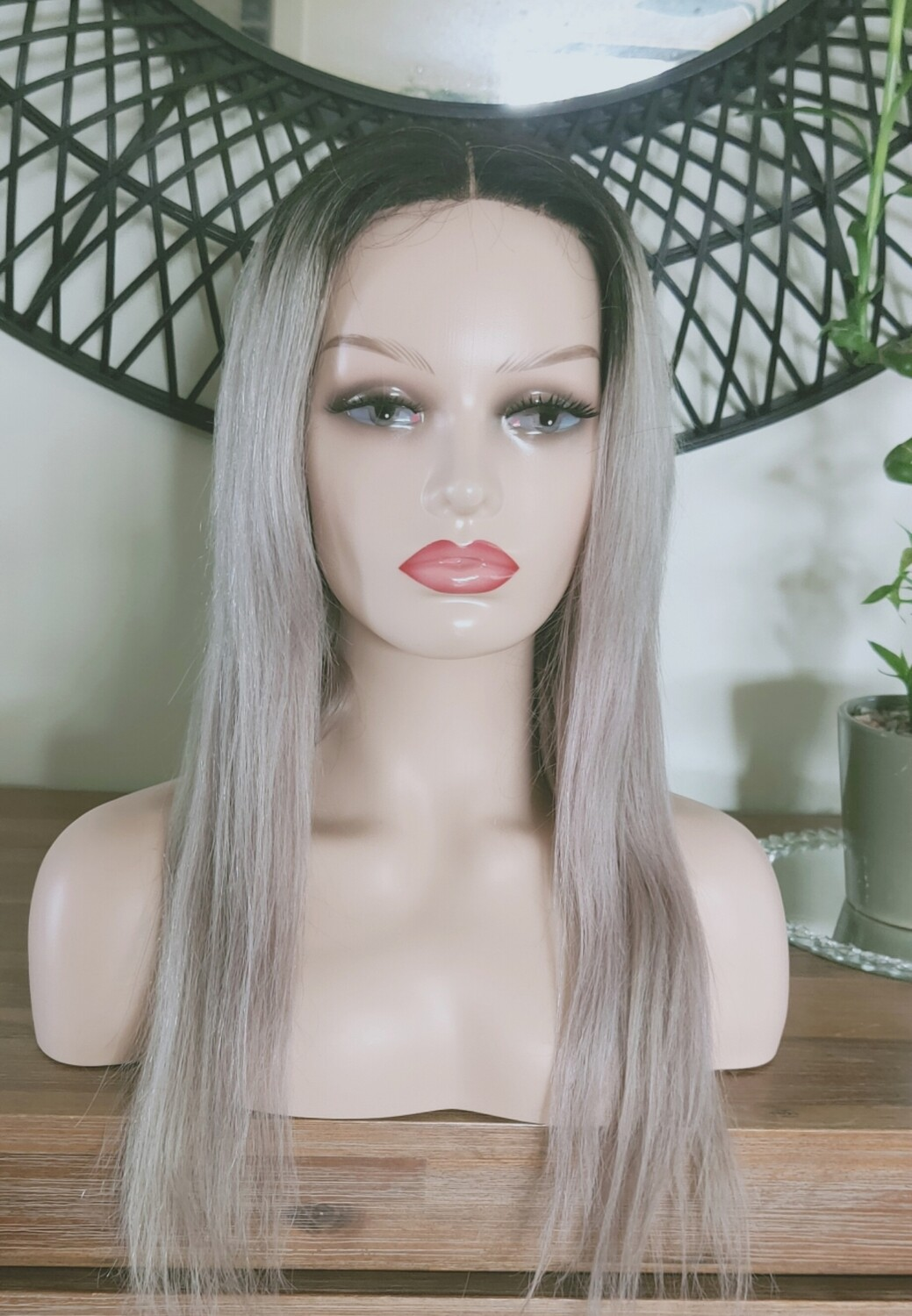 Grey Dark Roots Human Hair Lace Front