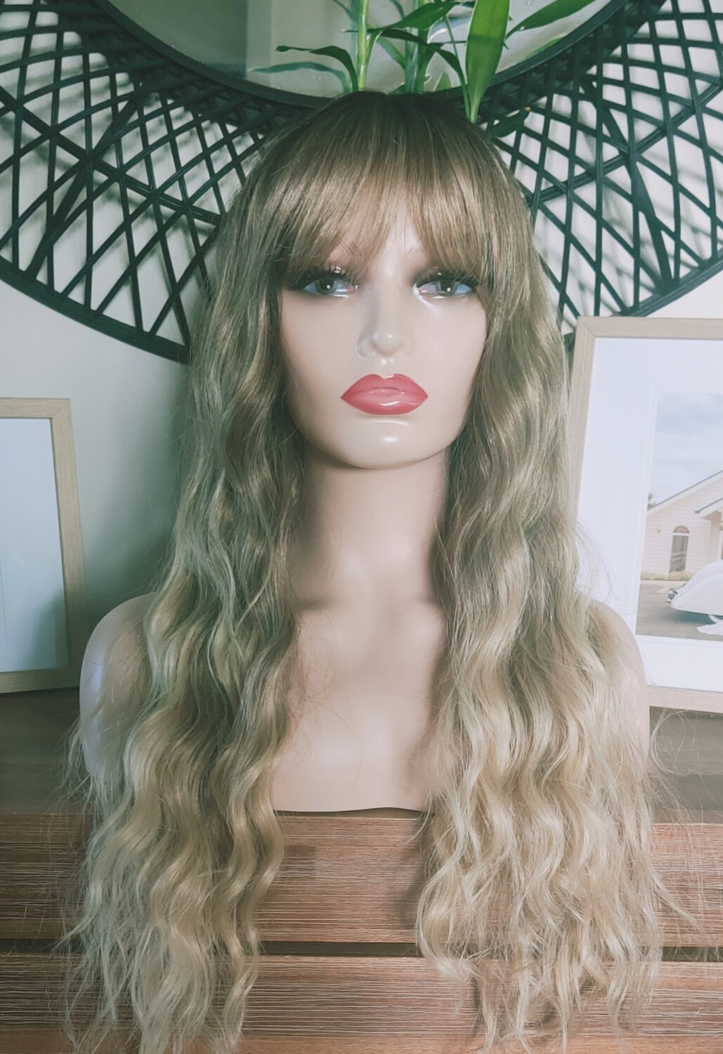 Blonde Mix Water Wave with Fringe