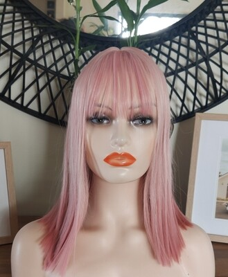 Silky Soft Pink Bob with Fringe