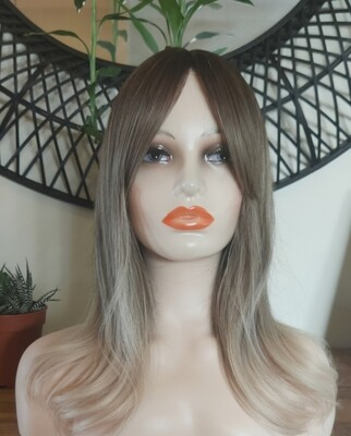 Ash Blonde Ombre Layered with Fringe