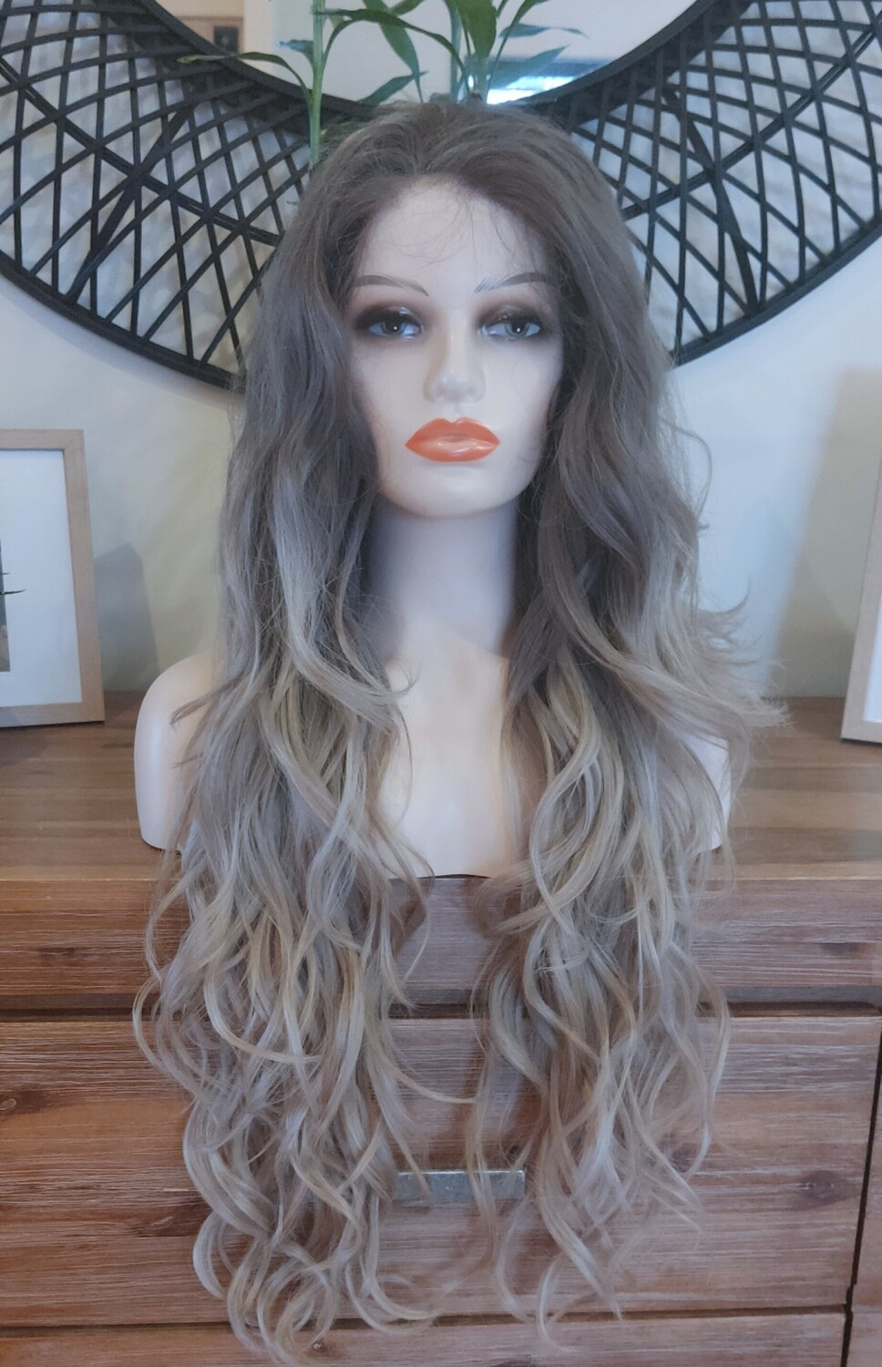 """Grey Ombre Wavy Moon Part Lace Front 28"""""""