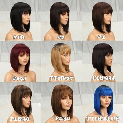 """Human Hair Bobs with Fringe 8-14"""""""