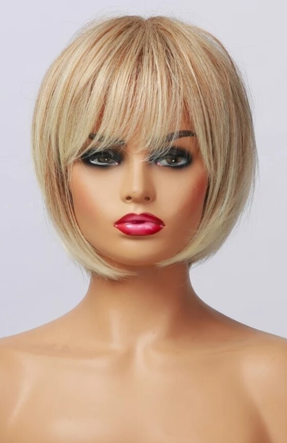 Strawberry Blonde Human Hair Blend Bob with Fringe