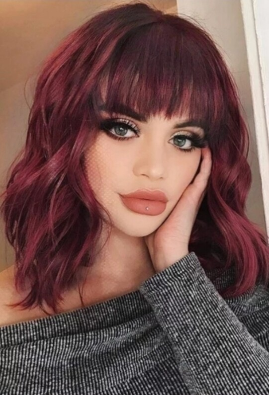 Wine Red Beachy Wave Bob with Fringe