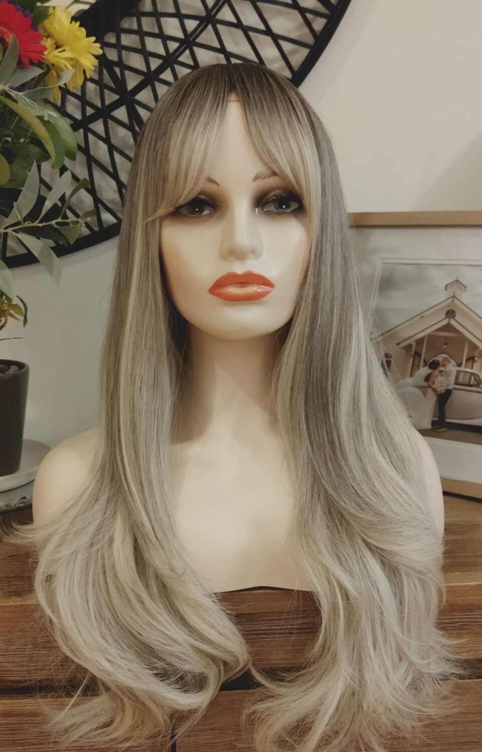 Grey Blonde Ombre with Fringe