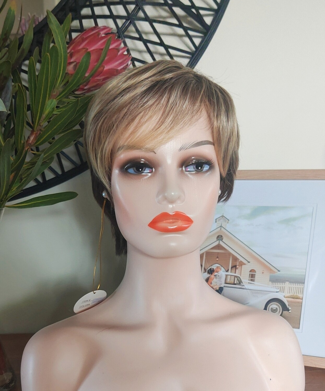 Blonde Streaky Human Hair Blend Pixie Cut
