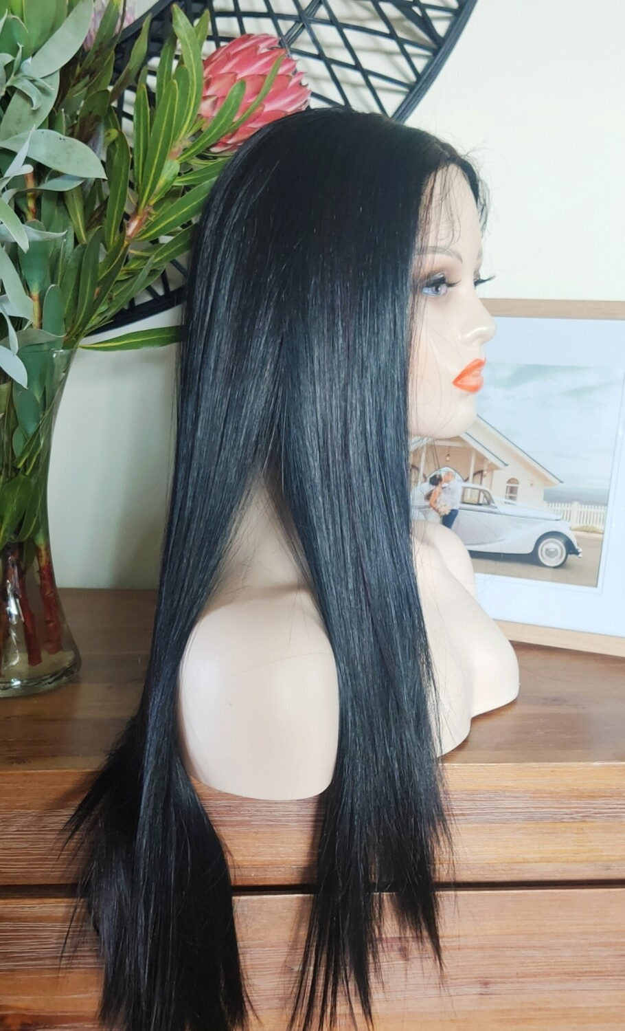 Black with Highlights Straight Lace Front