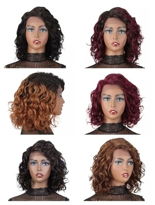 Curly Human Hair Lace Front Bobs