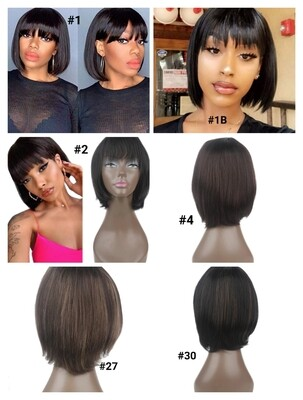 """Human Hair Bobs with Fringe 10"""""""