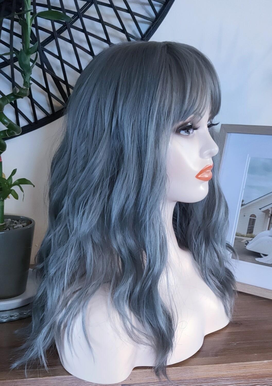 Greyish Blue Beachy Wave with Fringe