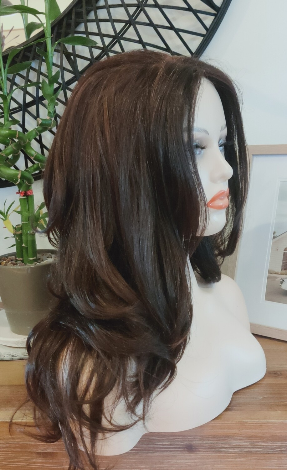 Medium Brown with Highlights Wavy Free Part Lace Front
