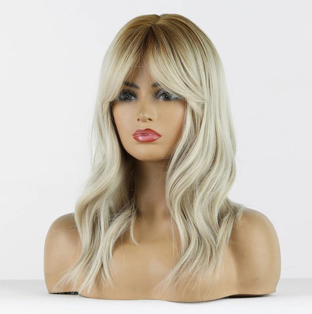 Platinum Blonde Ombre Body Wave with Fringe