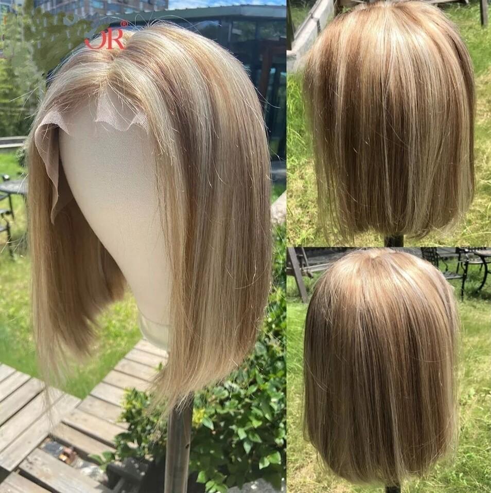 "Mix Blonde Human Hair Lace Front Bob 12"""