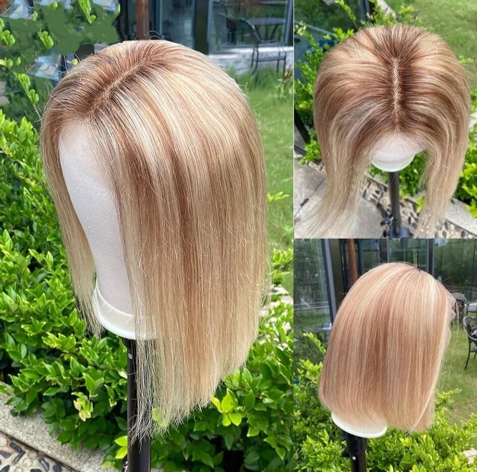 "Dark Roots Mix Light Blonde Human Hair Lace Front Bob 12"""
