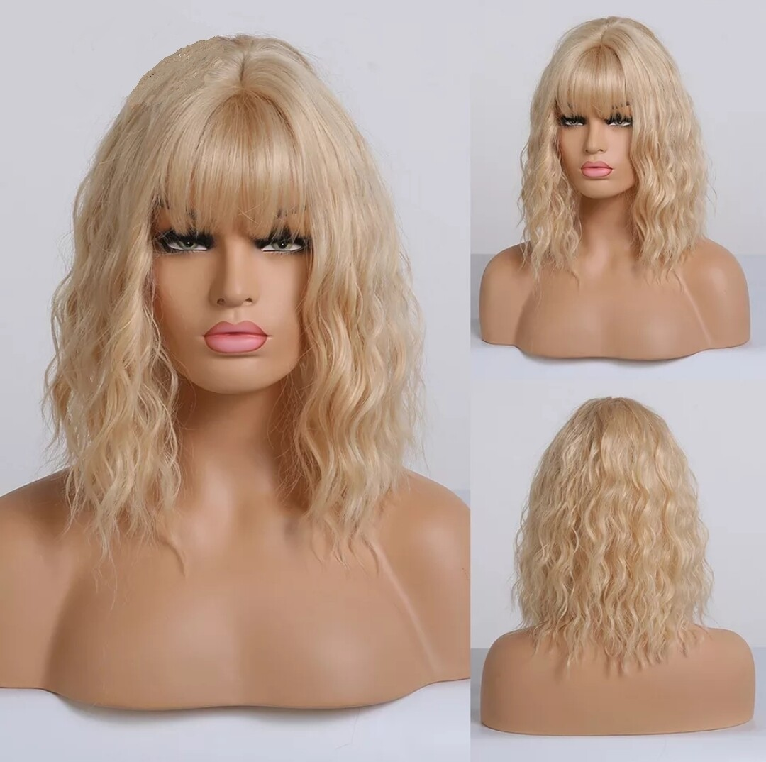 Dirty Blonde Water Wave Bob with Fringe