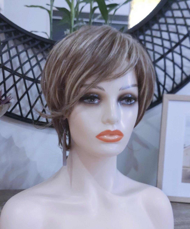 Blonde Brown Mix 30% Human Hair Pixie Cut