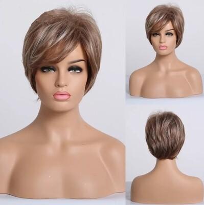 Copper Blonde Streaks Human Hair Blend Pixie Cut