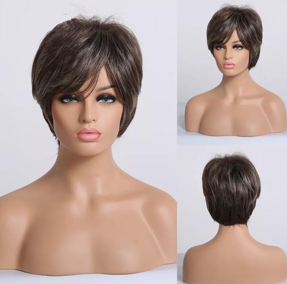 Brown Ash Mix 30% Human Hair Pixie Cut