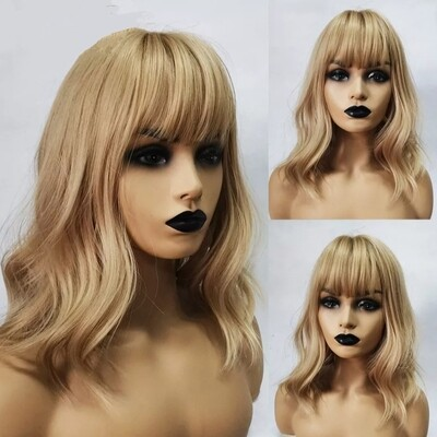Dirty Blonde Beachy Wave Bob with Fringe