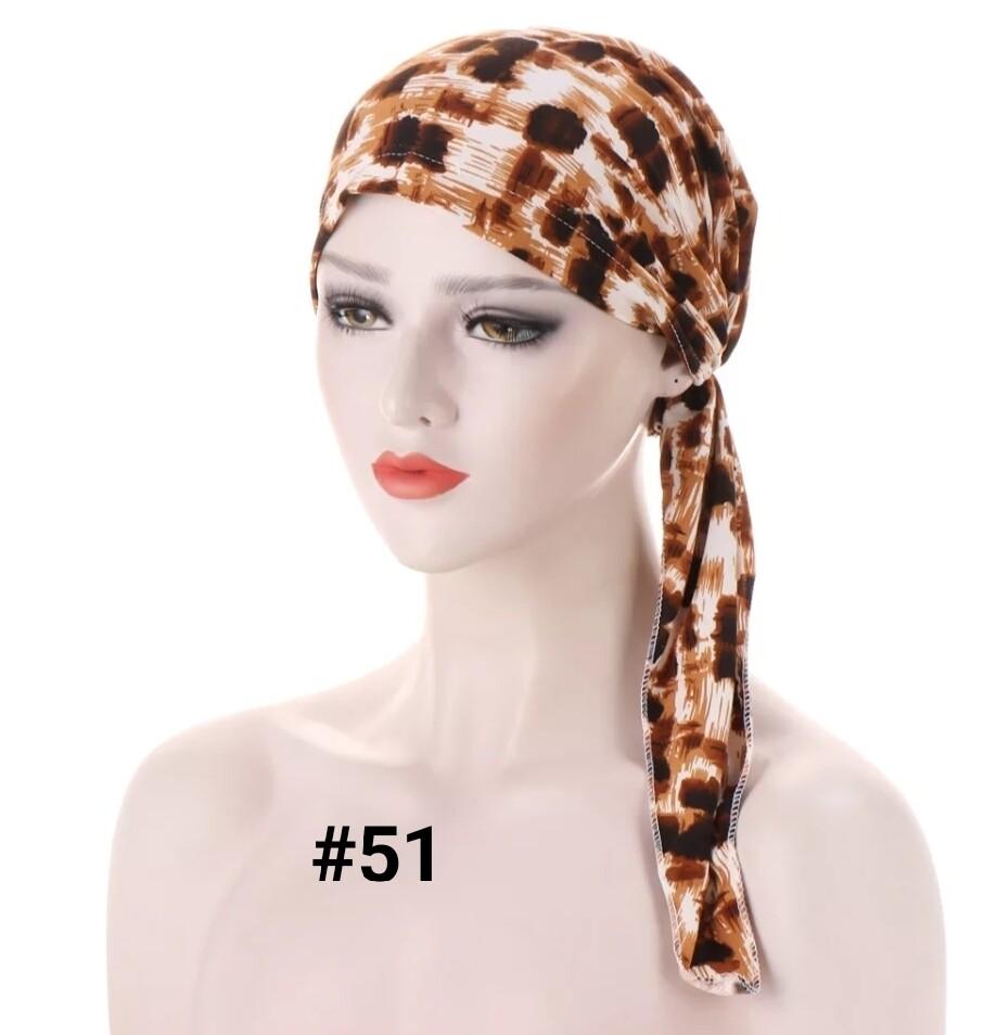 Tie Back Print Turban Cap