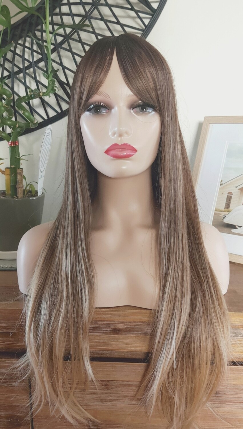 Caramel Brown Balayage Silky Straight with Fringe