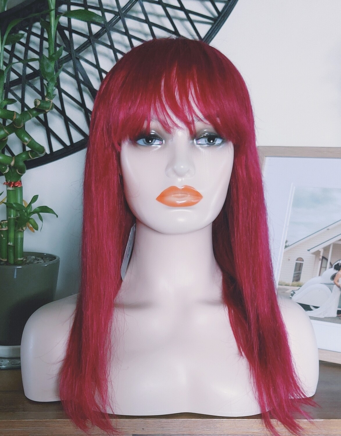 Cherry/Blonde/Copper Human Hair with Fringe