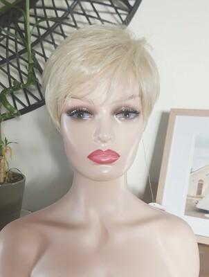 Light Blonde Human Hair Blend Pixie Cut