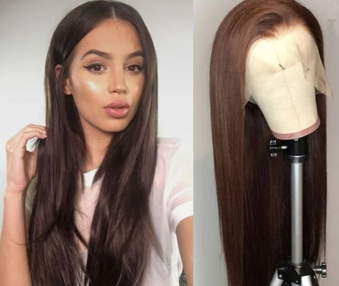 Dark Brown Human Hair  Transparent Lace Frontal Bleached Knots