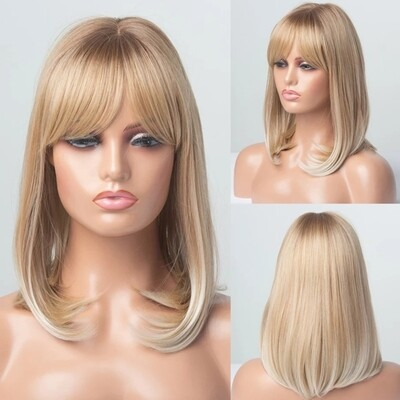 Mix Blonde Ombre Bob with Fringe