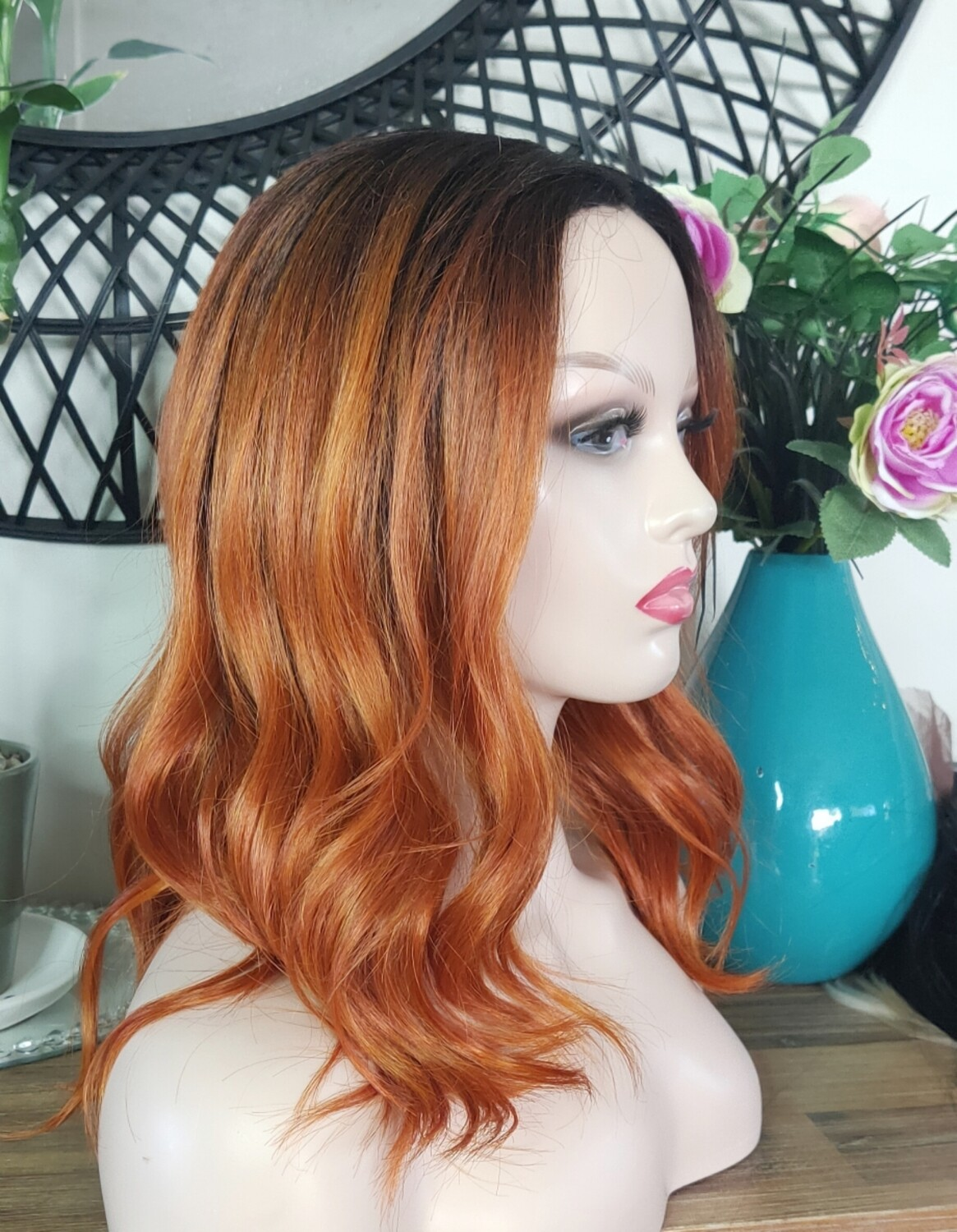 Ginger Orange Ombre Beachy Wave Lace Front Bob