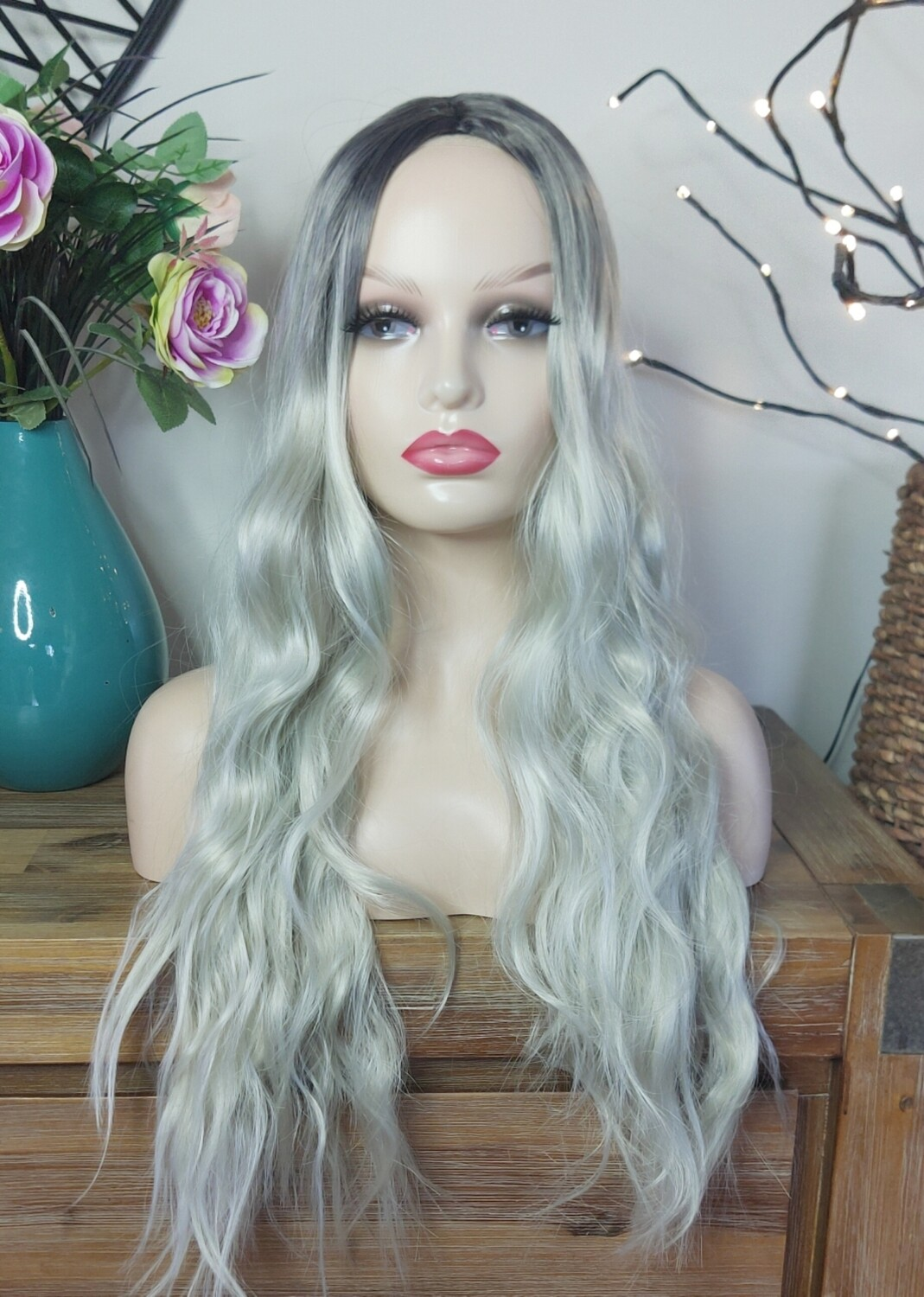 Silver Blonde Ombre Beachy Wave
