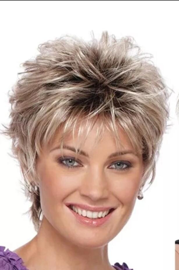 Ash Blonde Highlights Human Hair Blend Pixie Cut