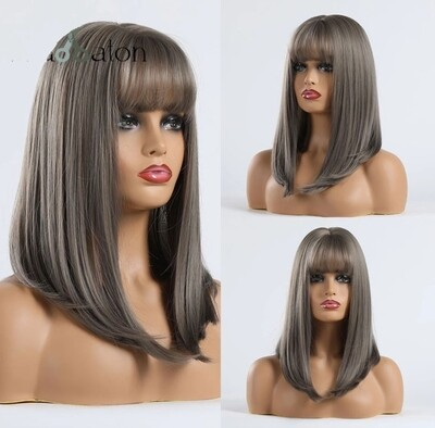 Grey Silky Straight with Fringe