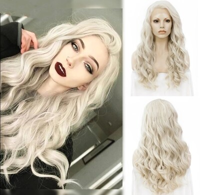 White Blonde Tight Curl Lace Front