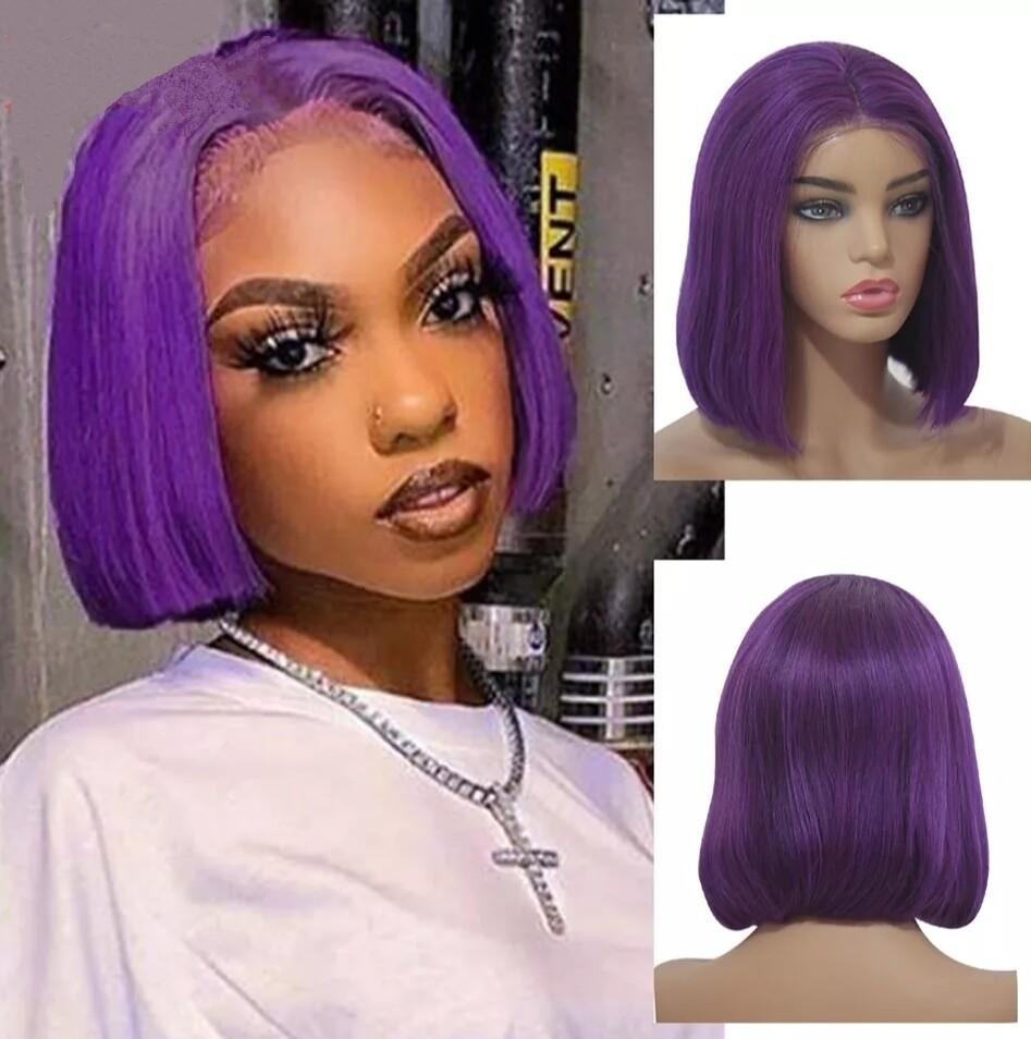 Deep Purple Human Hair Lace Front Bob