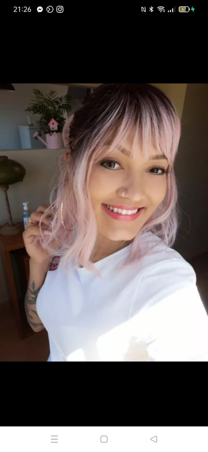 Soft Pink Ombre Beachy Wave Bob with Fringe