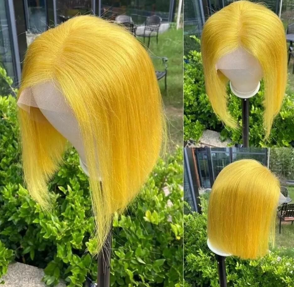 Yellow Human Hair Lace Front Bob