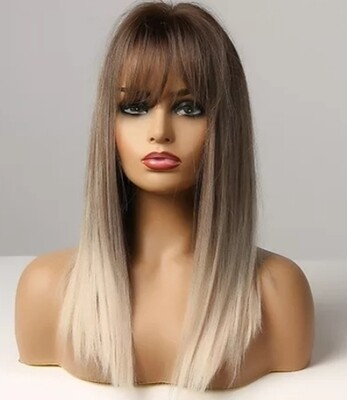Brown to Blonde Silky Straight Balayage with Fringe