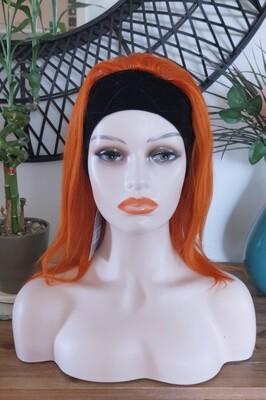 Orange Headband Human Hair Hair Bob