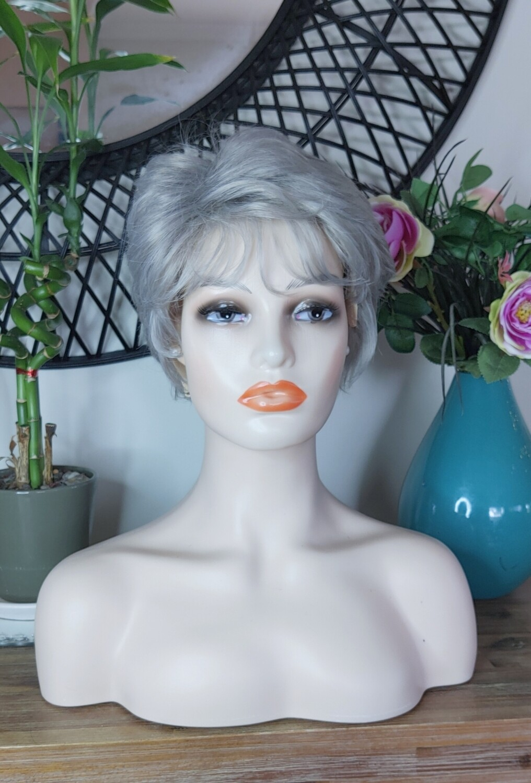 Medium Grey Human Hair Blend Pixie Cut