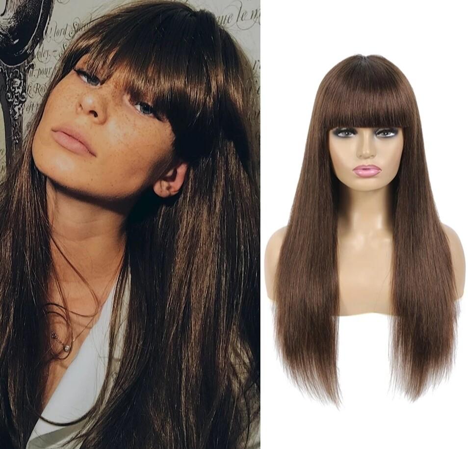 Dark Brown Human Hair with Fringe