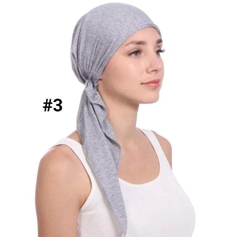 Elastic Cotton Tie Back Turban Cap