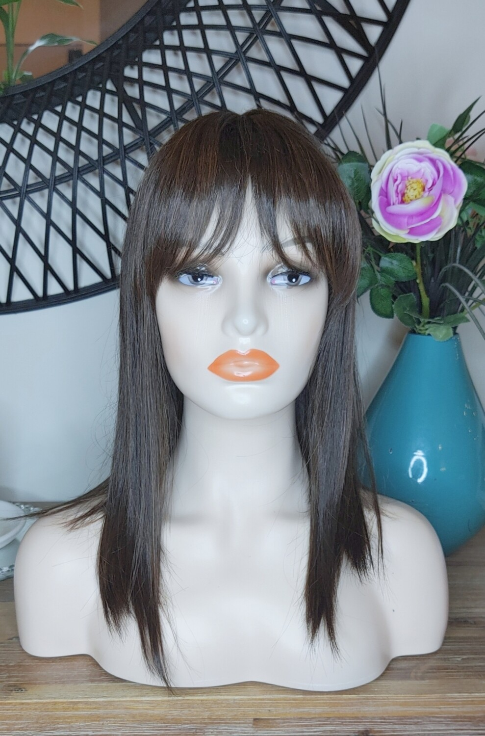 Brown Highlights Human Hair Blend with Fringe