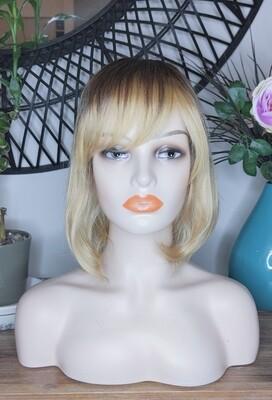 Golden Blonde Ombre Human Hair Blend with Fringe