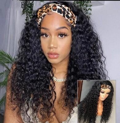 "Black Headband Curly Human Hair 22"""