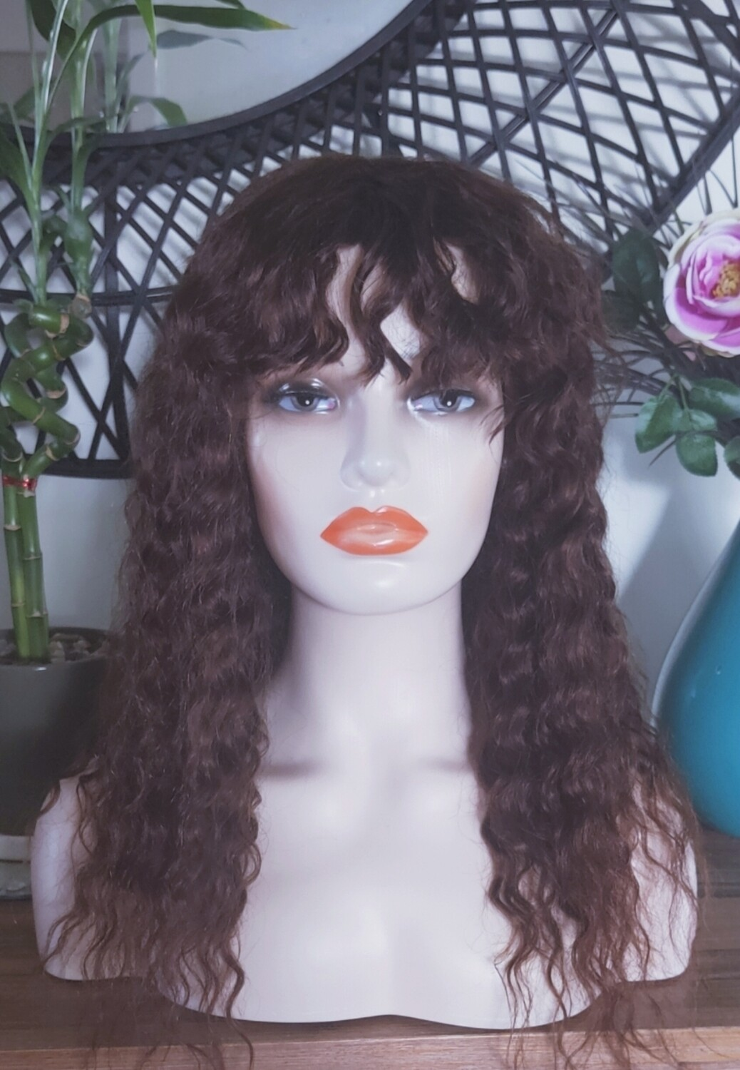 Dark Brown Curly Human Hair with Fringe